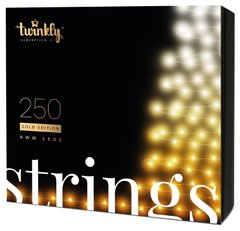 Гирлянда Smart LED Twinkly Strings AWW 250, BT + Wi-Fi, Gen II, IP44, кабель черный